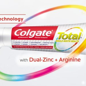 Whole Mouth Health: Significant reductions in plaque (30.1%) and gingivitis (26.3%) have also been demonstrated at 6 months versus a non-antibacterial fluoride toothpaste. In addition to excellent plaque and gingivitis control, New Colgate Total® with Dual-Zinc + Arginine delivers comprehensive benefits for the whole mouth, including tartar and dentin hypersensitivity control, whitening/stain removal, fresh breath, cavity and enamel protection