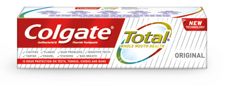 New Colgate Total®: Clinically proven to reduce plaque and gingivitis. New Colgate Total® is clinically proven to reduce plaque (by 30.1%; p < 0.001) and gingivitis (by 26.3%; 0.001) when compared to ordinary non-antibacterial fluoride toothpaste after six months. Superior plaque reduction, superior reduction in gingivitis, toothpaste efficacy in caries prevention. New Colgate Total® is the advanced way to achieve Whole Mouth Health by proactively controlling and protecting against bacteria on 100% of mouth surfaces, Teeth, Tongue, Cheeks and Gums.